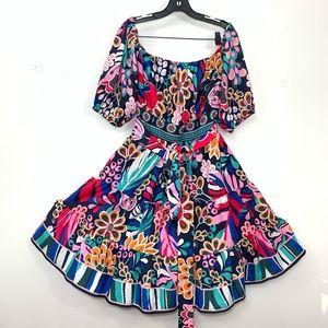 Eloquii Wayward Fancies bold print Peasant dress